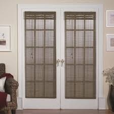 gray etnic mini blinds for white stained wooden frame double swing