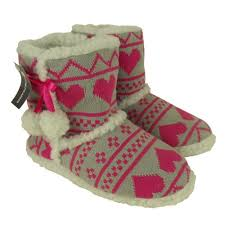womens boot slippers uk womens knitted eskimo ankle boot slipper slippers size