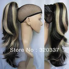 hk extensions claw on highlight ponytail hair extension wavy ponytail