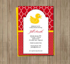 red and yellow duck printable baby shower birthday invitation on