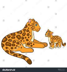 cartoon animals kids mother jaguar her stock vector 459375340