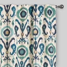 surprising ikat curtains indigo ikat concealed tab top curtains