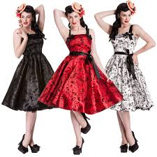 hell bunny flocked tattoo print rockabilly vintage 50s style party