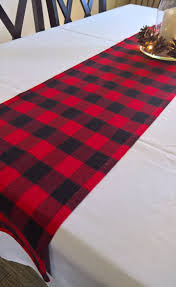 buffalo check table runner buffalo plaid flannel table runner red black flannel table