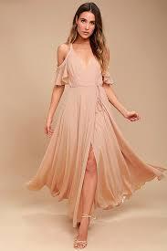 blush maxi dress lovely blush dress maxi dress the shoulder dress wrap
