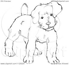 cartoon clipart of an outlined alert puppy dog black and white