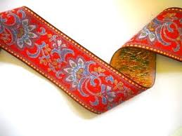 paisley ribbon blue and pink floral on orange ground jacquard ribbon 2 25 inch