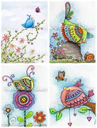 set 4 assorted whimsical bird illustrated note cards with