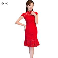 red mermaid cheongsam red lace wedding dress plus size cheongsam