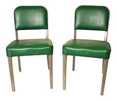 vintage industrial green vinyl steel office chairs a pair chairish