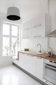 interior modern scandinavian kitchen design with menu list in