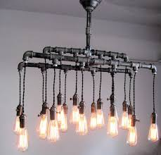 industrial pipe light fixture custom industrial pipe chandelier on etsy from hammersheels you