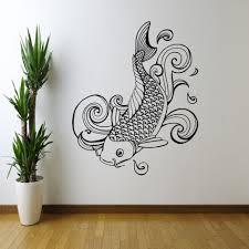 decoration ideas classy black koi fish stencil wall art along