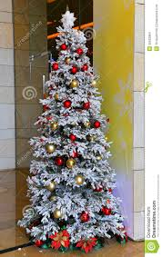 snow trees artificial lights decoration