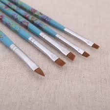 5pcs nail art wood uv gel salon pen flat brush kit dotting sales