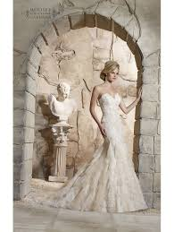 mori bridal 2772 lace bridal gown with soft net and ruffles ivory