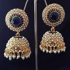 punjabi jhumka earrings buy indian vintage jewellery blue golden pearl brass jhumka