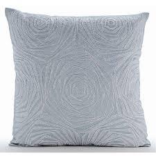 light blue pillow cases zardozi rose pattern 16 x16 art silk light blue pillow cases