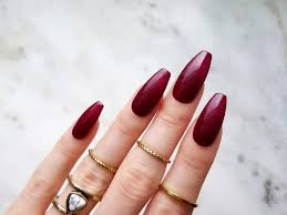 Best Stick On Nails Glossy Burgundy Press On Nails Hand Painted With Gel For The