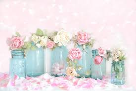 shabby flowers dreamy shabby chic pink white roses vintage aqua teal jars