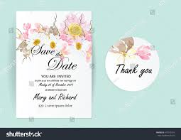Invitation Card Picture Set Wedding Invitation Card Flowers Concept Stock Vector 470575316