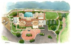 loose watercolor site plan rendering dag architects