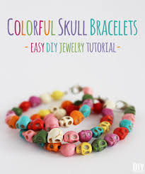 make bracelet from beads images Colorful skull bracelets easy diy jewelry tutorial jpg