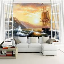seascape wall murals promotion shop for promotional seascape wall 3d room wallpaper custom mural non woven window seascape sailboat living room sofa wall decor painting 3d wall murals wallpaper