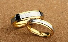 wedding ring philippines frosted two tone gold plated titanium wedding bands zoey