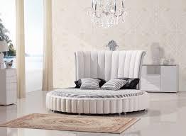 Modern White Bed Frame C645 Modern White Bonded Leather Round Bed W Mattress