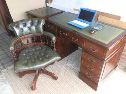 swivel captains chair antique style leather desk matching 2 drawer filling cabinet
