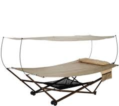 bliss hammocks 2 person ez stow hammock with canopy wheels and bag