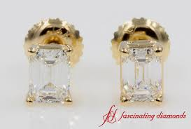 back diamond earrings one carat emerald cut back diamond earring yellow gold fd
