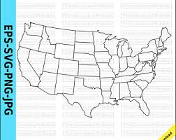 united states map with states on it state map etsy