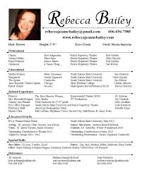 theatre resume template acting resume template word professional acting resume sle with