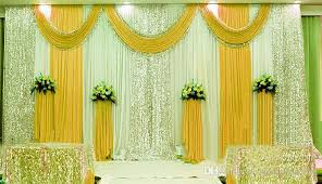 White Curtains With Pom Poms Decorating 3m 6m Silk Milk White Wedding Backdrop Curtains Gold Swag With