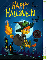 halloween background cute halloween background with cute witch flying on her broom on a full