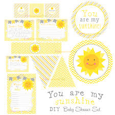 You Are My Sunshine Decorations You Are My Sunshine Baby Shower Set Yellow And Gray