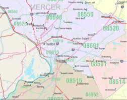 jersey area code map jersey zip code map