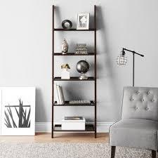 Tiered Bookshelf Hometrends 5 Tier Solid Wood Espresso Leaning Bookcase Walmart