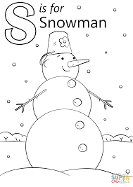 letter s is for snowman coloring page free printable coloring pages