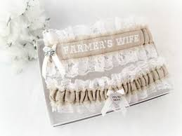 Wedding Garters Burlap Embroidered Wedding Garter Set Rustic Bridal Garters