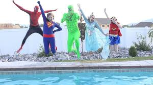 disney princesses go swimming pool party spiderman and elsa