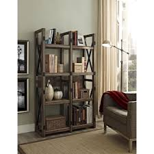 vintage gray wooden open cabinet with white bookcase and room f