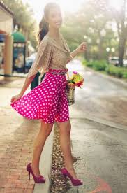 how to wear a pink polka dot skater skirt 3 looks women u0027s fashion