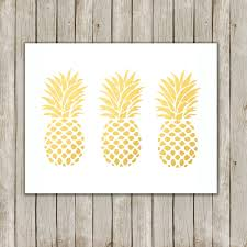 Pineapple Decorations For Kitchen by 8x10 Pineapple Set Print Metallic Gold Wall Art Gold