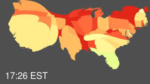 Americas Mood Map by Pulse Of The Nation U S Mood Throughout The Day Inferred From