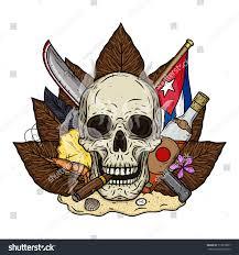 Cuban Flag Tattoos Skull Cigar On Background Tobacco Leaves Stock Vector 713018857