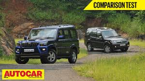 jeep tata 2014 mahindra scorpio vs tata safari storme comparison test