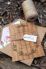 Credit Card Wedding Invitations Dana Matt U0027s Rustic Floral Wood Veneer Wedding Invitaions Wood